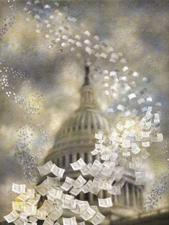Papers flying from heaven around capitol