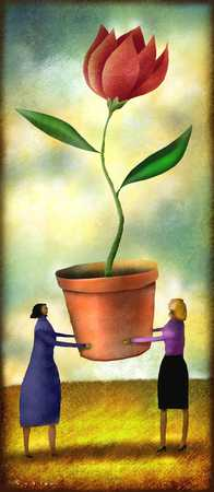 Two people holding up a pot with a flower