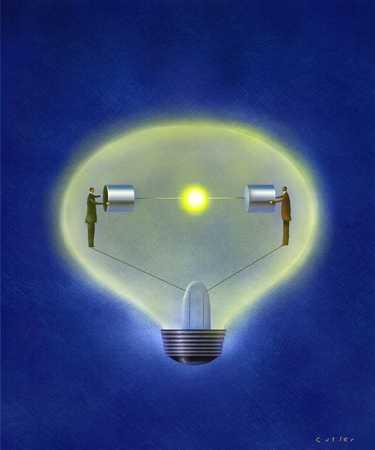 Closeup of light bulb illuminating with light