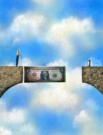 Dollar bill partially bridging gap