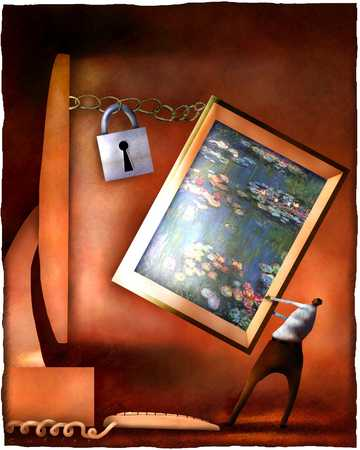 Person pulling a painting away from screen that is locked together