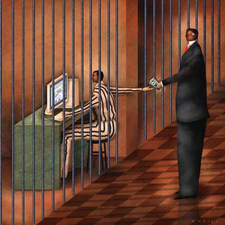 Person watching an inmate use the computer