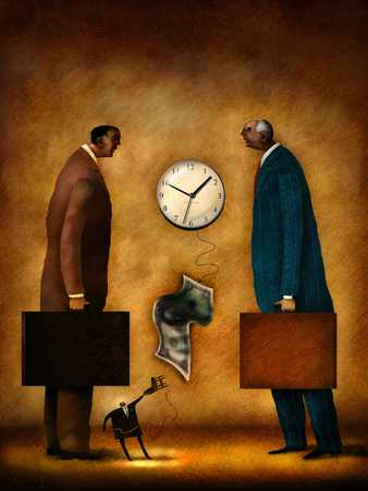 Two people looking at clock