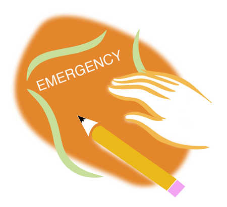Person with pencil and emergency