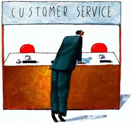 Man At Empty Customer Service Desk