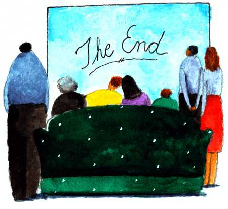 People On Couch Looking At The End On Wall