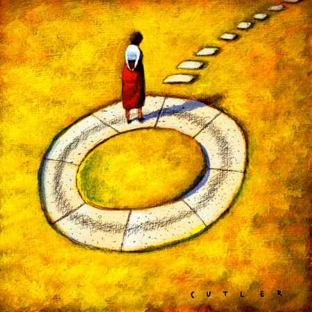 Woman On Circular Path With Stepping Stones Leading Away