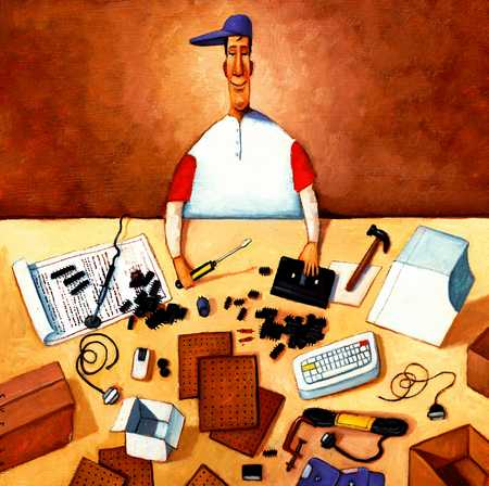 Man With Tools And Computer Parts