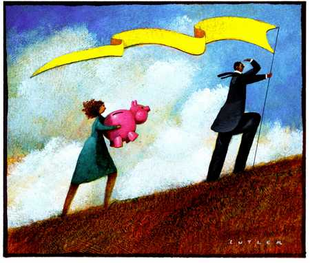 Man With Pennant And Woman With Piggy Bank On Hill
