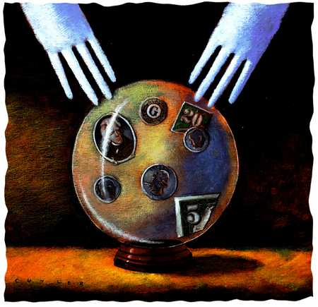 Hands Over Crystal Ball With Money