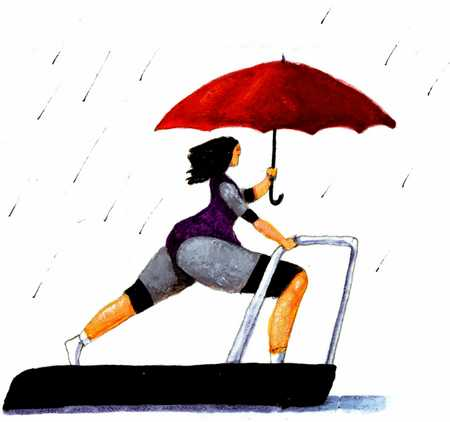 Woman On Treadmill In Rain With Umbrella