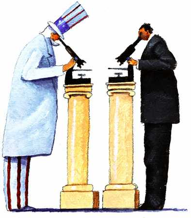 Uncle Sam And Man With Microscopes On Pedestals