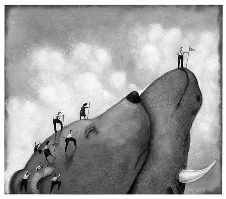 People Climbing Bull-And-Bear Mountain