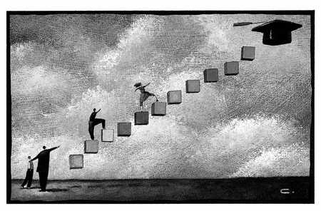 stock illustration students climbing steps to mortarboard in sky