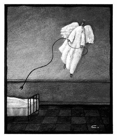 Angel With Electrical Cord Over Bed