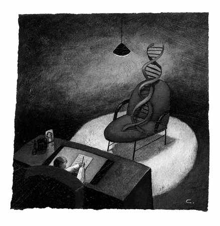 DNA IN Chair In Front Of Man At Desk