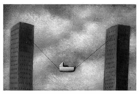 Cradle On String Between Buildings