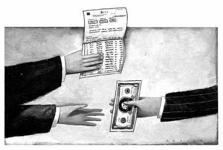 Hands Exchanging Money And Bill