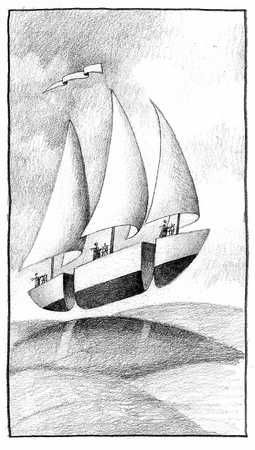 Sailboat In Three Sections