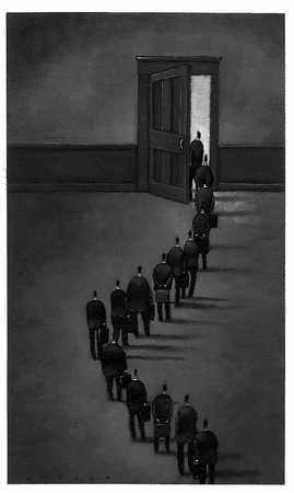Line Of Businesspeople At Door