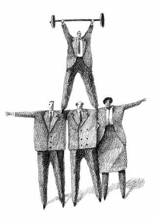 Businesspeople Pyramid, Man With Barbell On Top 2
