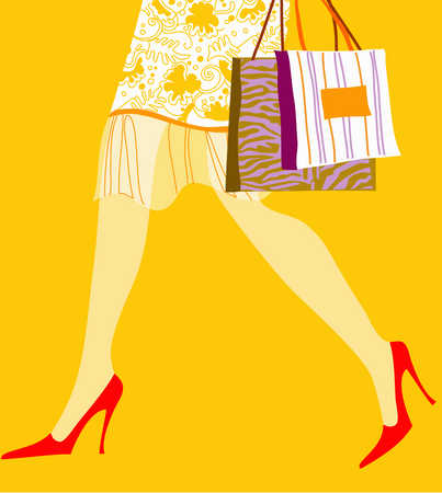 Lower body of woman in high heels walking