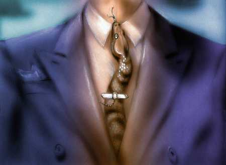 Man with snake for tie