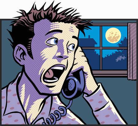 Man screaming into phone at night