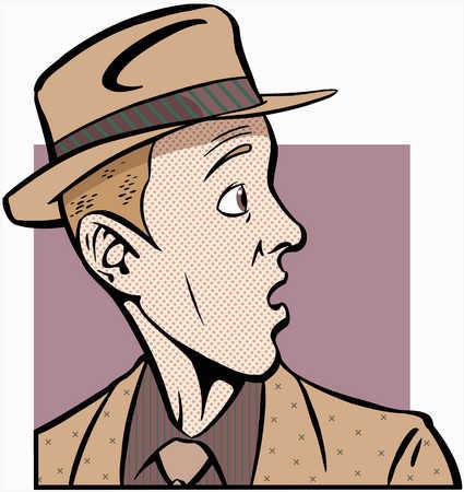 Man in hat looking behind him in suspicion