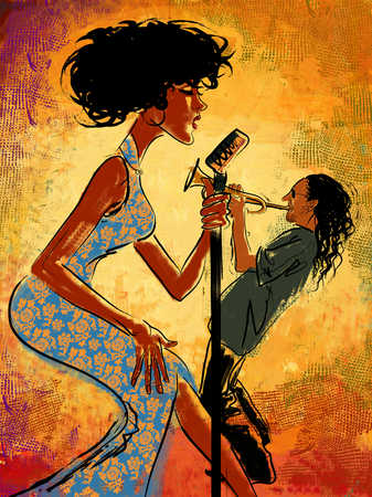 Woman singing on microphone, man playing trumpet, side view