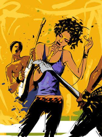 Woman singing, men playing guitar