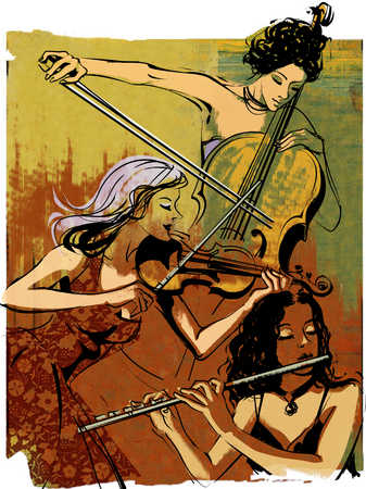 Three young women playing cello, violin and flute