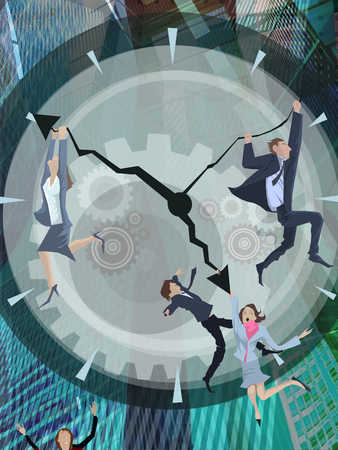 Businesspeople running after clock, close-up