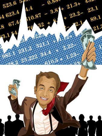 Businessman holding banknote, smiling