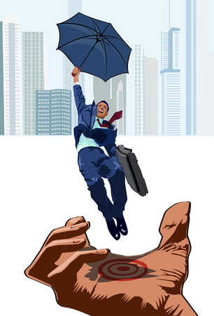 Businessman with umbrella landing on palm