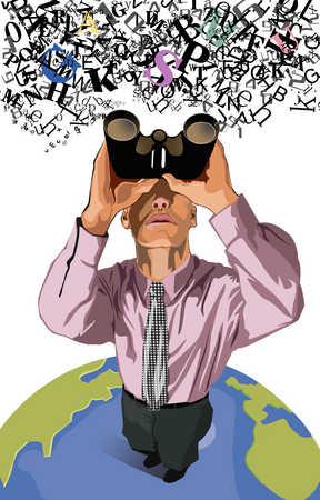 Businessman standing on globe, looking through binoculars, elevated view