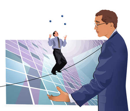 Businessmen standing on tightrope, tossing ball
