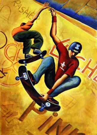 Two young men skateboarding