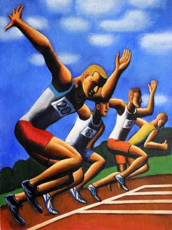 Four men at starting line