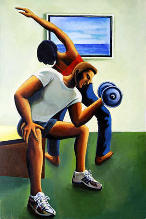 Young man lifting dumbbell, woman stretching