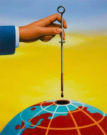 Man dripping liquid into center of model earth