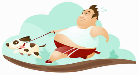 Overweight man losing control of his dog