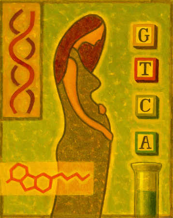 Pregnant woman and genetic symbols