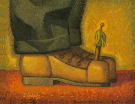 Man stuck between giant shoes