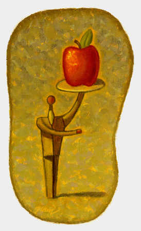 Man holding an apple on a tray