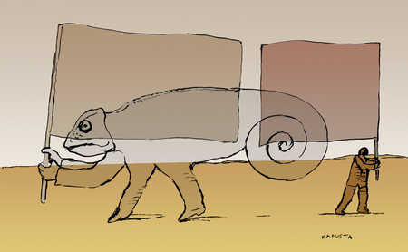 Chameleon carrying a flag