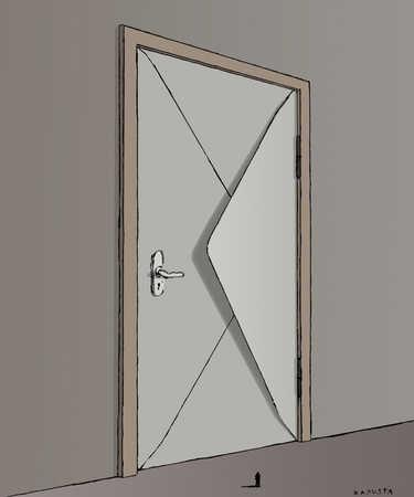 Door shaped like an envelope