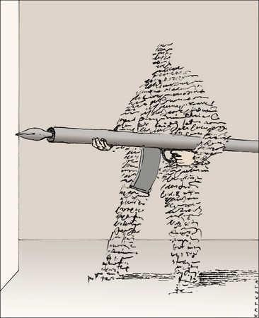 Man made of writing holding a fountain pen machine gun