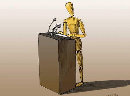 Human model making a speech