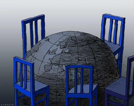 Chairs seated around a globe